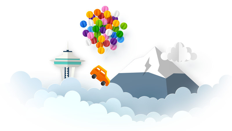 Illustration of a car floating above the clouds being carried by a         cluster of balloons.