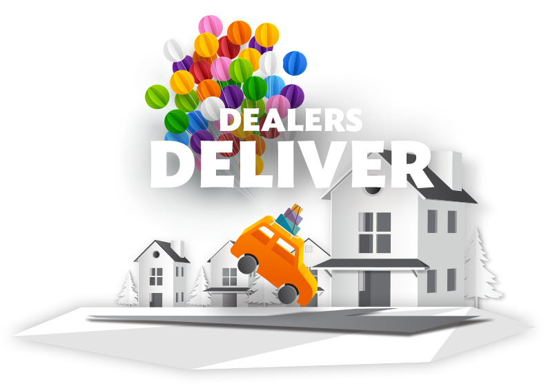 """Illustration of a car being dropped into a home driveway by a cluster         of balloons with a banner         that says """"Dealers Deliver""""."""