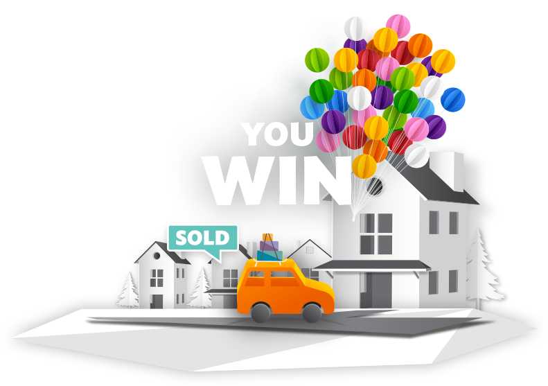 """Illustration of a new car sitting in a driveway detached from a         cluster of balloons with a """"Sold"""" sign above it and a banner that reads         """"You Win""""."""