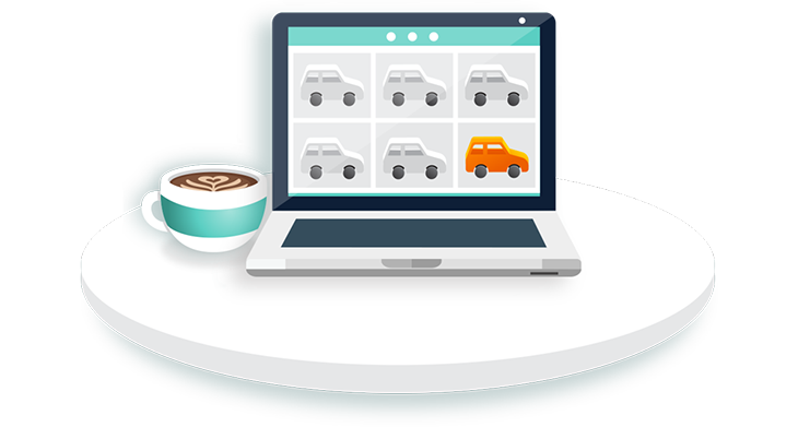 Illustration of a laptop on a Joydrive page full of cars